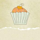 Retro card with cupcake. EPS 8 — Stock Vector