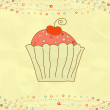 Retro valentine card with cupcake. EPS 8 — Vettoriali Stock