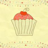 Retro valentine card with cupcake. EPS 8 — Stock Vector
