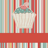 Retro card with cupcake. And also includes EPS 8 — Stock Vector