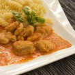 Chicken pieces with Pasta in Paprika Cream Sauce - Stock Photo