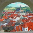 Historic town Cesky Krumlov (Czech republic). - Stock Photo