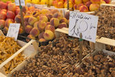 Market place with lot of mushrooms and fruits — Stock Photo