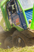 A detailed look of truck racing. — Stock Photo