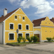 Rural yellow decorated house in Zabori ( Czech Republic) — Stock Photo