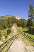 Mountain view with cogwheel railway (Schneeberg, Austria) — Stock Photo
