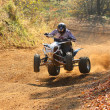ATV rider goes up the hill - Stock Photo