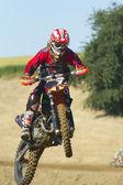 Rider motosiklet ile atlar. ön tekerlek yan yara — Stok fotoğraf