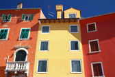Nice color houses in the town of Rovinj — Stock Photo