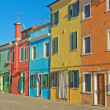 Color houses in row (Burano, Italy) — Stock Photo