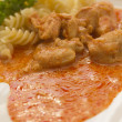 Chicken pieces with Pasta in Paprika Cream Sauce - Foto de Stock