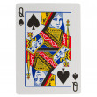 Old playing card (queen) - Stock Photo