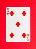 Old playing card (five) — Stock Photo
