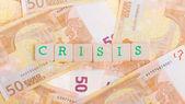 いくつかの 50 ユーロ紙幣の上にブロックの手紙 — ストック写真