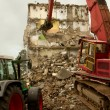 Stock Photo: Demolishing a block of flats