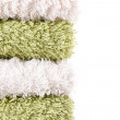 Green and white towels - Stock Photo