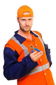 Young worker in uniform — Stock Photo
