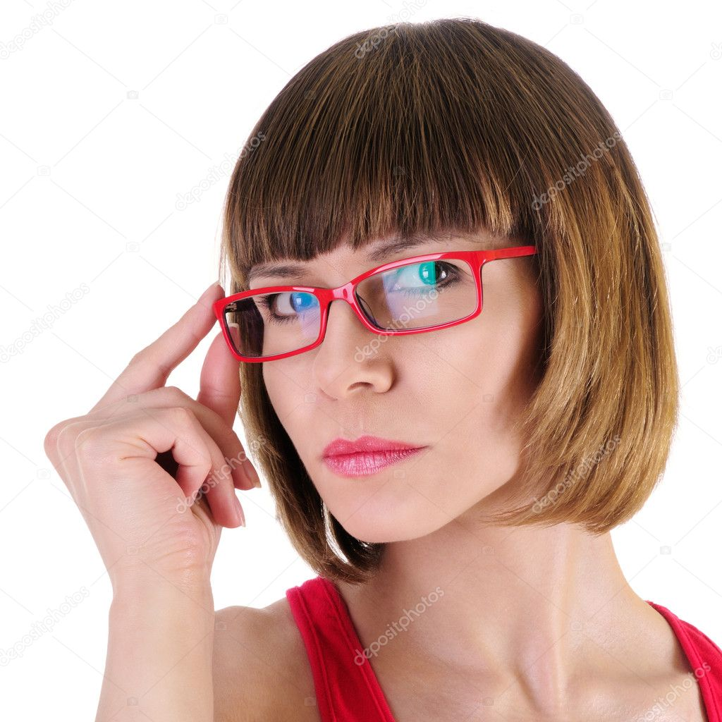 Closeup picture of lovely woman in glasses. isolated on a white background. Close-up portrait  Stock Photo #10566732