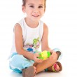 Girl played by constructor — Stock Photo