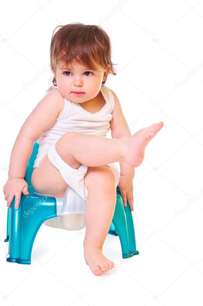 A small child sitting on the pot. isolated on white. high-key — Stock Photo #9852533