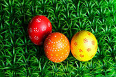 Trzy jaja wielkanocne — Zdjęcie stockowe