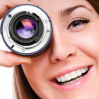 Young woman with a lens — Stock Photo