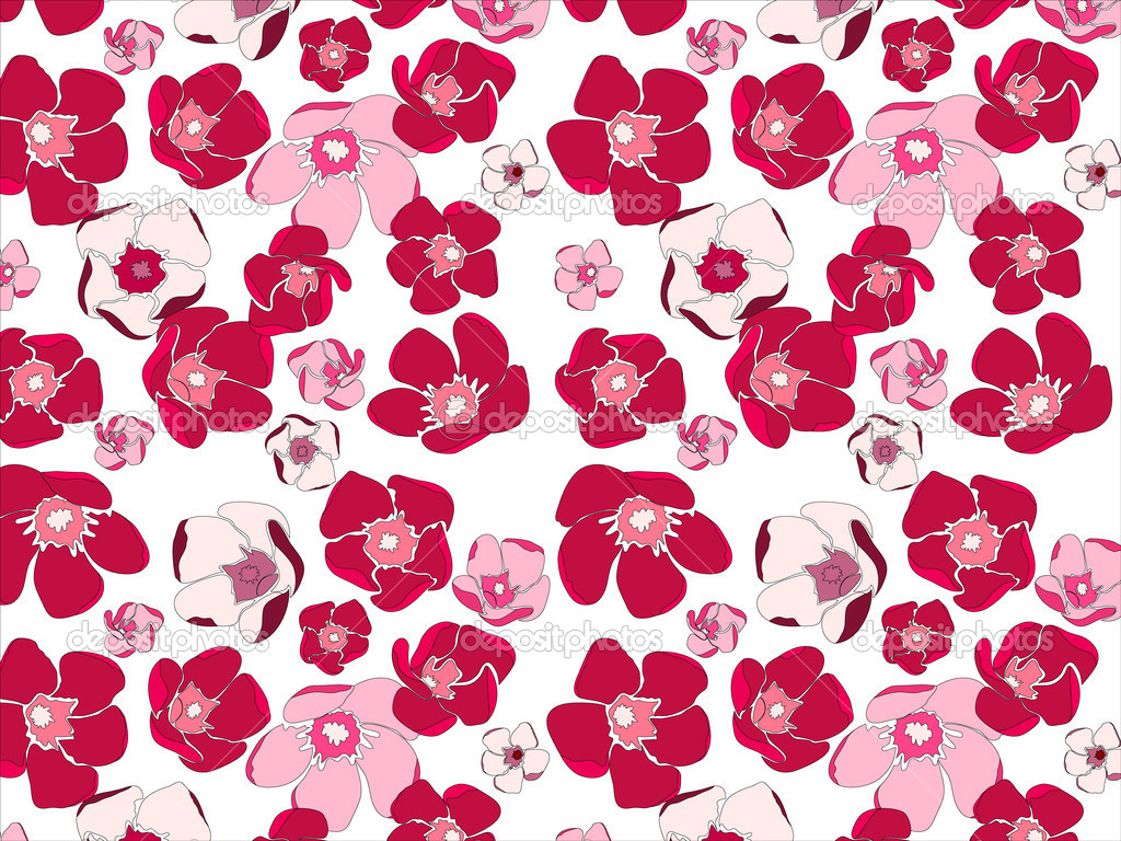 A seamless vector pattern of pink flowers on white background — Stock Vector #9527920