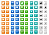 Square media buttons set — Vecteur