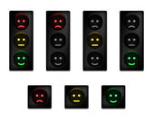 Traffic lights with smiles — Stock Vector
