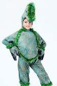 Boy wearing dinosaur costume — Stock Photo