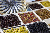 Weekly market olives shop — Stock Photo