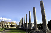 Colesseum and Pilars of the Antiquarium Forense — Stock Photo