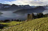 Lake Lucerne from Mt Rigi railway — Stock Photo
