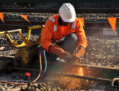 Rail Welder cutting rail — Stock Photo