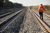 Track Workers working along rail corridor — Stock Photo