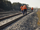 Track Workers working on rail — Stock Photo
