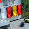 Stock Photo: Mobile emergency devices at back of firetruck