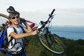 To carry favorite bike with fun — Stock Photo