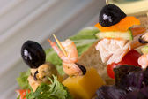 Canapés with seafood — Stock Photo