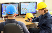 Two Workers in Control Room — Stock Photo