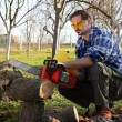 Stock Photo: Man cutting wood with electric saw