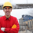 Industrial Worker in Power Plant — Stock Photo