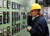 Worker in a Control Room — Stock Photo