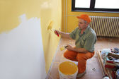 Painter in action — Stock Photo