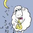 Royalty-Free Stock Vector Image: Romantic sheep with saxophone