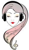 Beautiful girl listening to headphones — Stock Vector