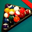 Shot of pool table and balls in triangle — Stock Photo #9502054