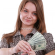 Girl with fan of dollar — Stock Photo