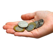 Coins in a palm — Stock Photo
