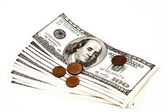 Hundred dollar bills and coins — Stock Photo